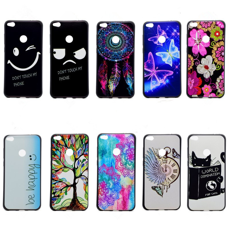 p8lite 2017 cases cover cute floral soft silicone fashion mobile phone bag black back shell for
