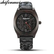 2019 new shifenmei black men's business wooden watch Casual simple Korean men's