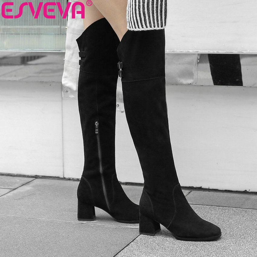 ESVEVA 2019 Shoes Women Short Plush Square Toe Over The Knee Boots Cow Suede Square High Heels Autumn Boots for Woman Size 34-39 esveva 2018 boots square heels short plush women boots high heels round toe elegant over the knee boots ladies shoes size 34 39