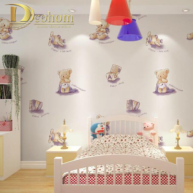 Bedroom Decor Letters cozy cartoon animals letters children wallpaper for walls boys
