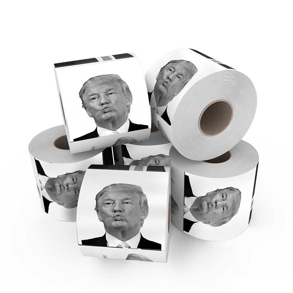 2018 ใหม่ตลกห้องน้ำกระดาษ Donald Trump อารมณ์ขันห้องน้ำกระดาษม้วน Novelty ตลกของขวัญ Prank Joke เครื่องมือกลางแจ้ง