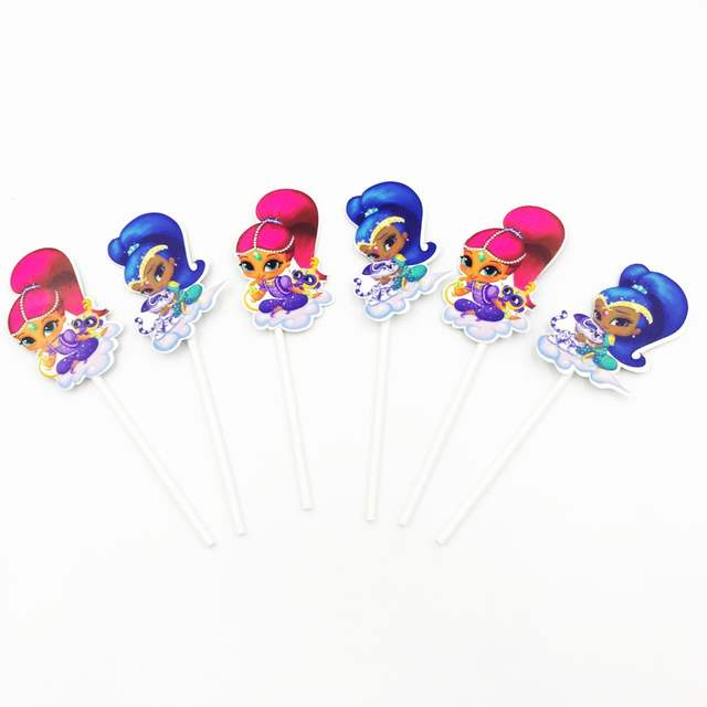 Online Shop 6PCS LOT ECO FRIENDLY PAPER STICK SHIMMER SHINE BIRTHDAY PARTY SUPPLIES AND CUPCAKE TOPPER CAKE DECORATIONS