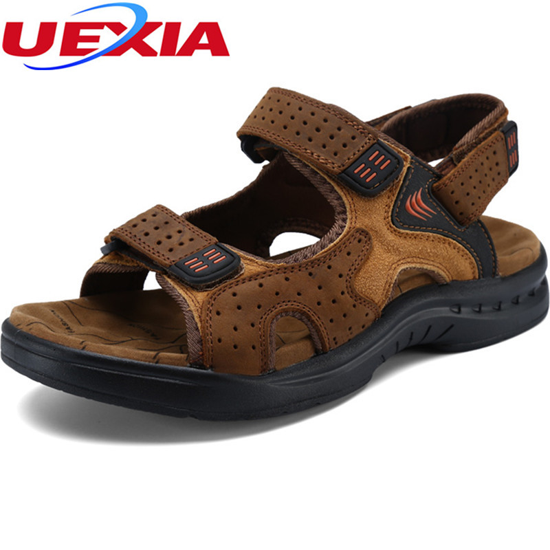Top quality Suede Leather Zapatos Men Sandals New 2017 Summer Walking Shoes for Man Fashion Brand Outdoor Slippers Casual Shoe