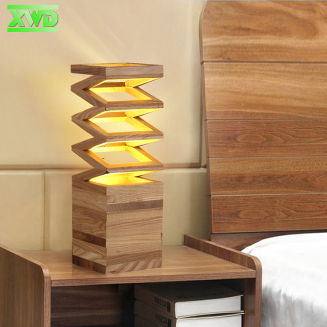 Modern Spring-shaped Wooden Table Lamp E27 Lamp Holder 110-240V Parlor Indoor Study Desktop Lighting Free Shipping