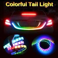 5050 Car Styling RGB Flow Led strip trunk Tail Light Ice Blue LED DRL daytime running light RED Brake Light 120cm