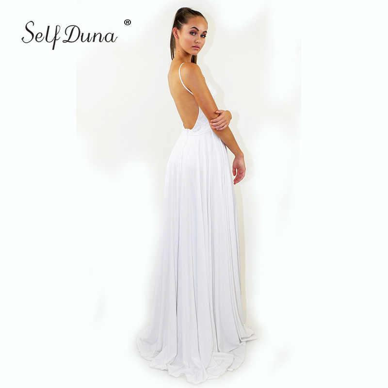 ae0f8f96d6 ... Self Duna Sundress 2019 Summer Long White Dress Women Party Dress Split  Lace Maxi Sexy Backless
