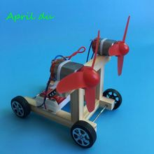 April Du DIY Wind Power Vehicle Car Model Kit Double Wings Handmade Scientific Experiments Education Toys