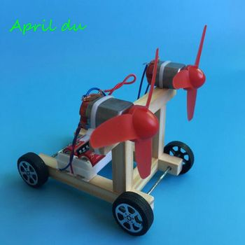 April Du DIY Wind Power Vehicle Car Model Kit Double Wings Handmade Scientific Experiments Education Toys wooden hydraulic excavator model handmade scientific experiments steam