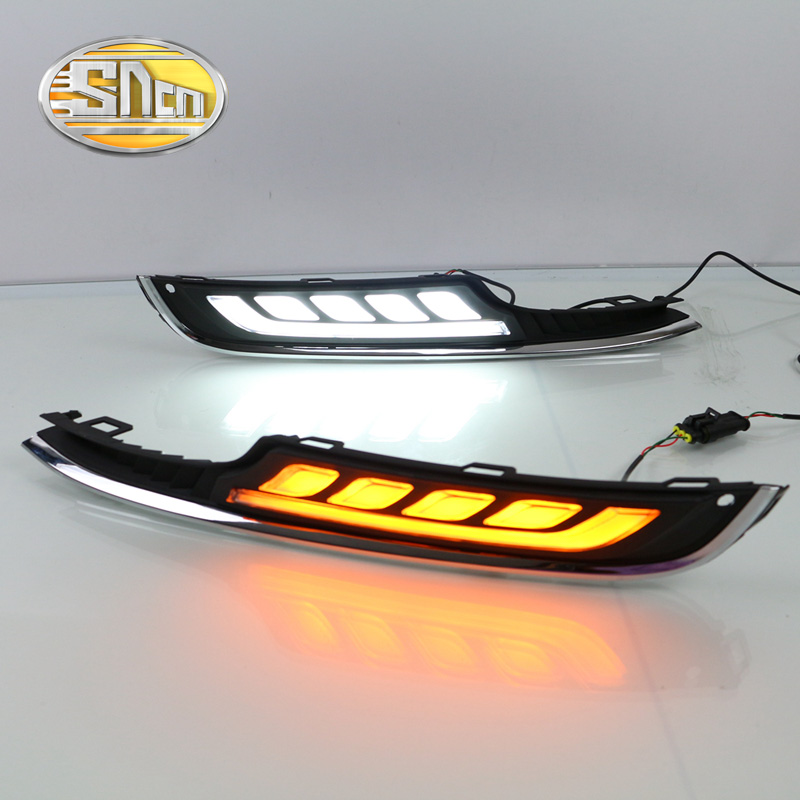 ФОТО For Volkswagen Golf 7 MK7 2015 2016,Yellow Turn Signal Relay Waterproof ABS 12V Car DRL LED Daytime Running Light Daylight SNCN