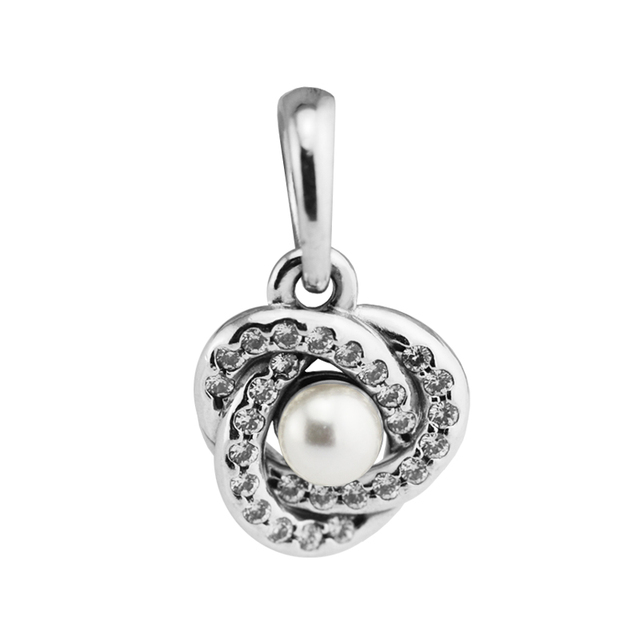 10ec7e1f3 Fits for Pandora Charms Bracelets Luminous Love Knot Beads with White  Crystal Pearl 925 Sterling-Silver-Jewelry Free Shipping