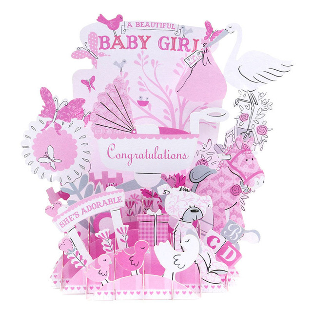 3D Laser Cut Handmade Cartoon Newborn Baby Boy Girl Shower Party - greeting for new baby girl