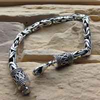 8MM Handmade Thailand 925 Silver Man Bracelet Good Luck Bracelet Longevity Bracelet Pure Silver Bracelet Jewelry