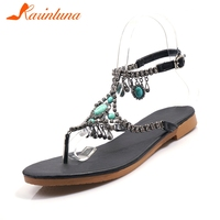 4900fb785 KARINLUNA 2019 New Ethnic T Strap Shoes Sandals Women Summer Jewelry  Decoration Sandals Women Shoes Woman