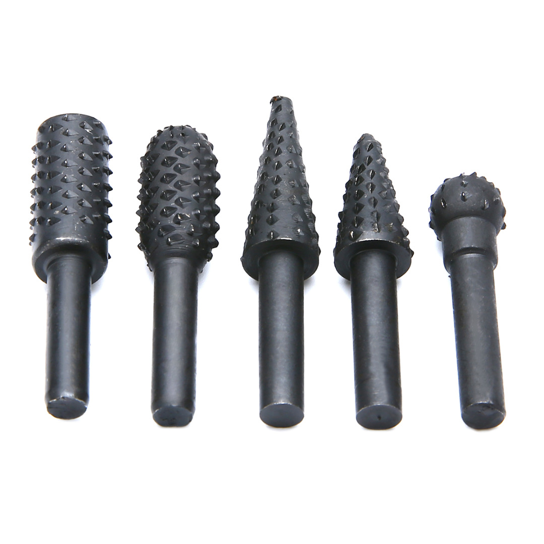 5pcs Rotary Rasp Set 1/4'' 6mm Shank Rotary Burr Set Wood Rasp File Drill Bits for Woodworking Carving Burrs