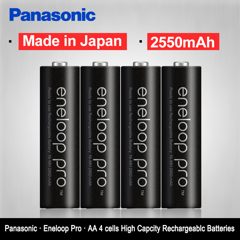 Panasonic Eneloop Original 2550mAh Batteries 4PCS/LOT 1.2V NI-MH Camera Flashlight XBOX Toy AA Pre-Charged Rechargeable Battery