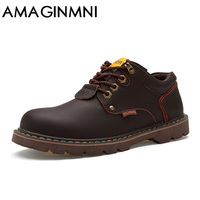 AMAGINMNI Brand Handmade Breathable Men S Shoes Top Quality Dress Shoes Men Flats Fashion Genuine Leather