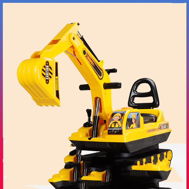 Children's Walker Toy Excavator Can Ride Sit on The Excavator Balance Scooter Pedal Four-wheeled Engineering Vehicle on balance