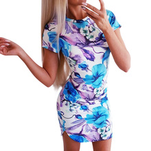 Spring Summer Bodycon Dress Women Sexy Round Collar Print Pocket Hip Dresses Party Casual 2019 Floral Print Vintage Dress Tunic
