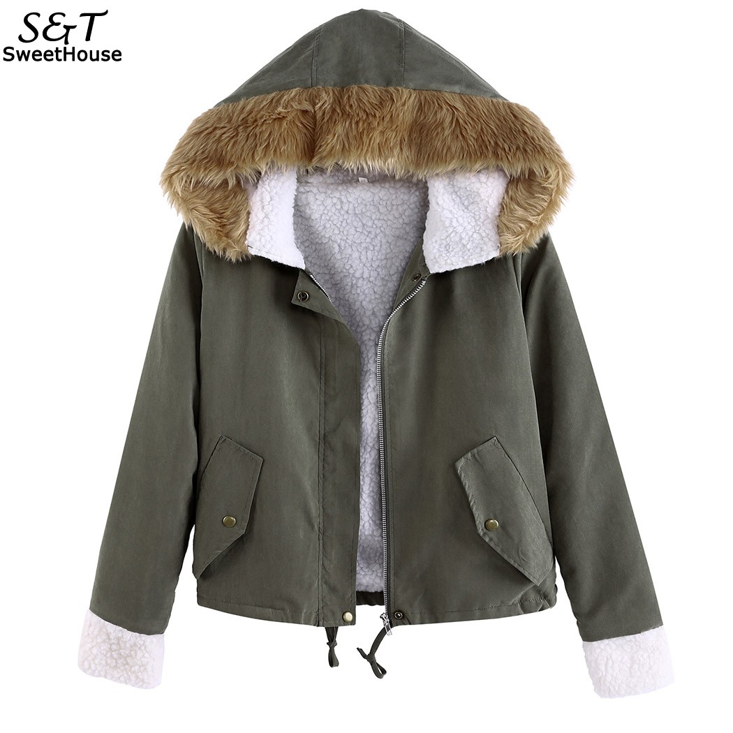Autumn Winter Jacket Women 2017 Casual Women Jacket Coat Faux Fur Collar Hooded Outwear Jackets Coats Bomber Jacket Army Green