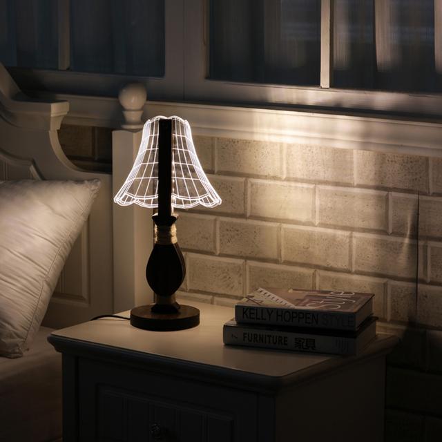 Nova Regulável Luz Noturna USB lâmpada de Mesa Lâmpada de Mesa de Acrílico Luz LED 3D Decoração Do Casamento Home Decor com o REINO UNIDO/Plug UE