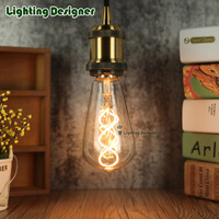 ST64 LED Vintage Lamp Bulb Double Spiral New Design Soft LED Filament 4W 220V E27 Edison