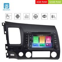 Besina 7 дюймов Android 8,0 dvd-плеер автомобиля для Honda Civic 2006-2012 Мультимедиа gps навигация wifi Octa 8 ядер 4 Гб оперативная память радио