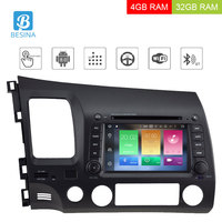 Besina 7 Inch Android 8.0 Car Vehicle GPS For Honda Civic 2006 2012 Multimedia GPS Navigation WIFI Octa 8 Cores 4G Radio DVD