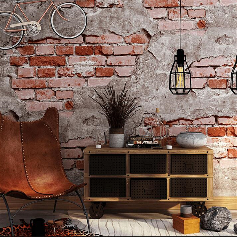 Brick pattern wallpaper brick retro culture stone wallpaper brick industrial wind loft coffee restaurant background wallpaper purple brown beige coffee soft bag wallpaper sofa ofhead background wallpaper