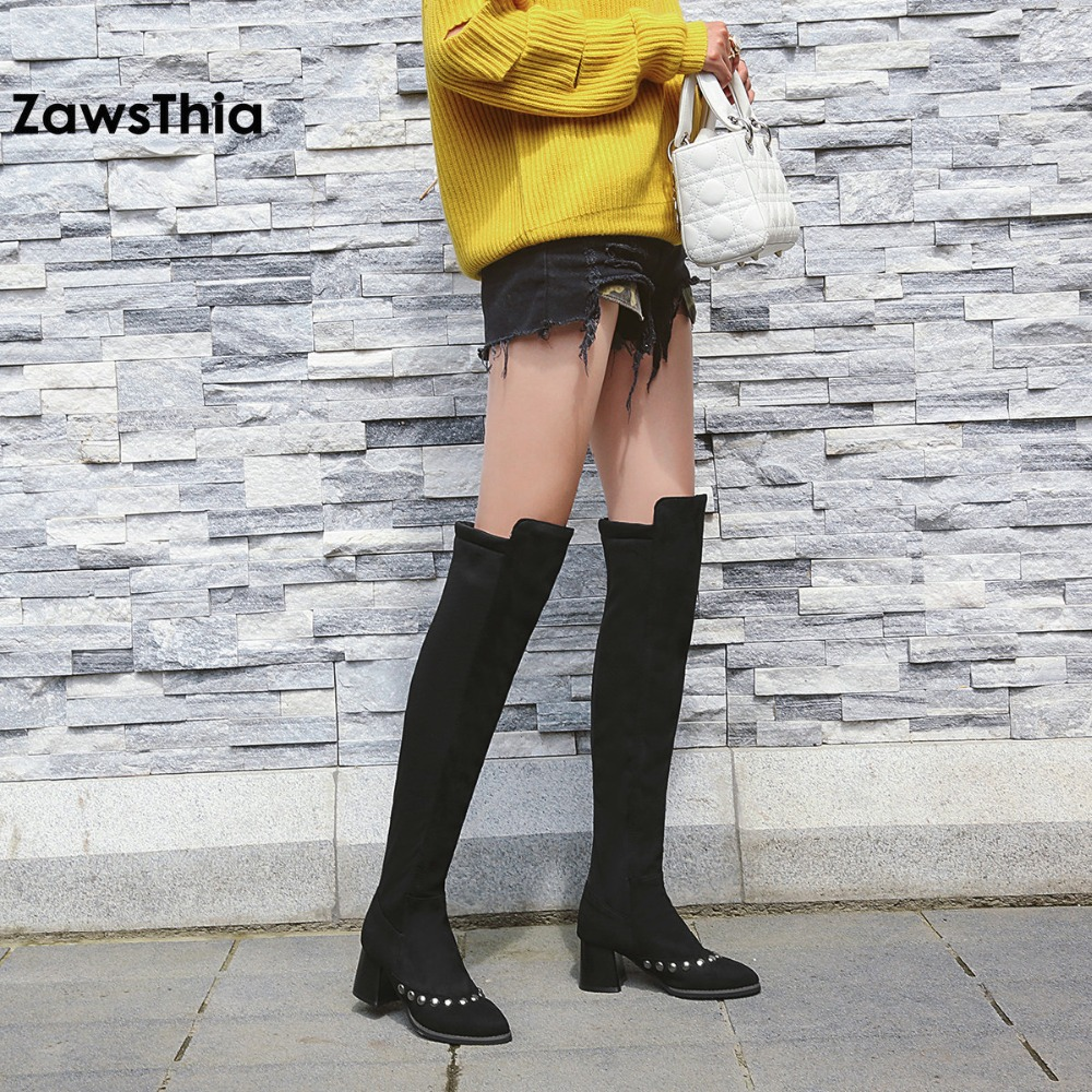 ZawsThia big size stretch fabric lycra solid black studded pumps warm female winter boots high heel knee high boots women shoes slip on winter boots stretch lycra