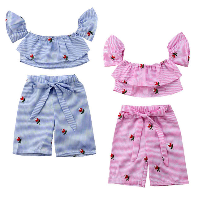 33f22c85fbb9 Summer Kids Baby Girls Stripes Flowers Off Shoulder Crop Tops Shirt +  Lace-up Short Pants Outfits Clothes Set