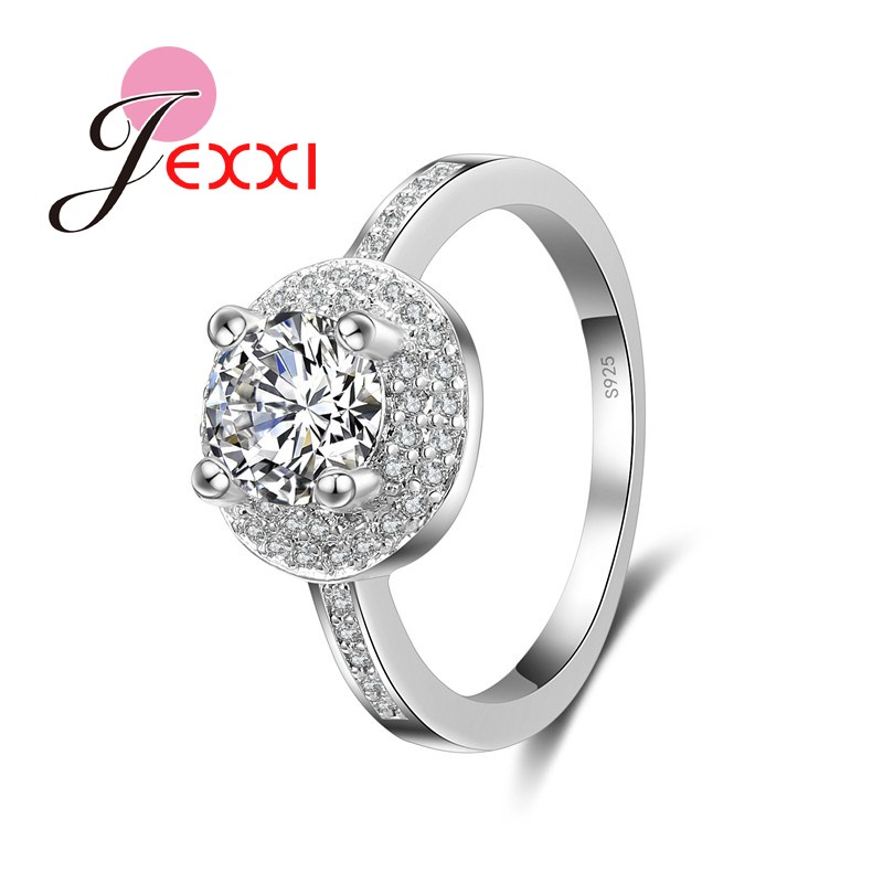 JEXXI European Full Clear Zircon Wedding Engagement Rings For Women Fashion S90 Silver Finger Ring Female Bague Jewelry