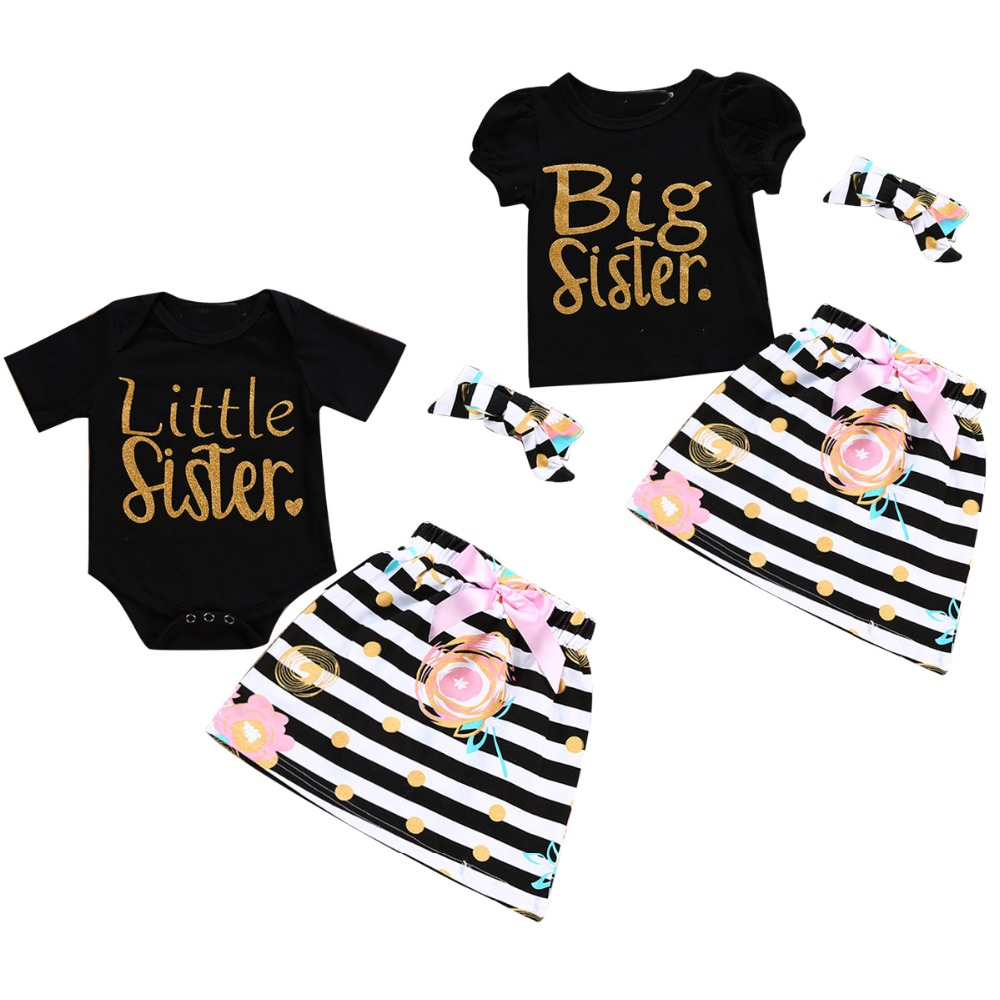 Puseky Family Matching T-Shirt Outfits-Set Headband Little-Sister Baby-Girl Twins Romper