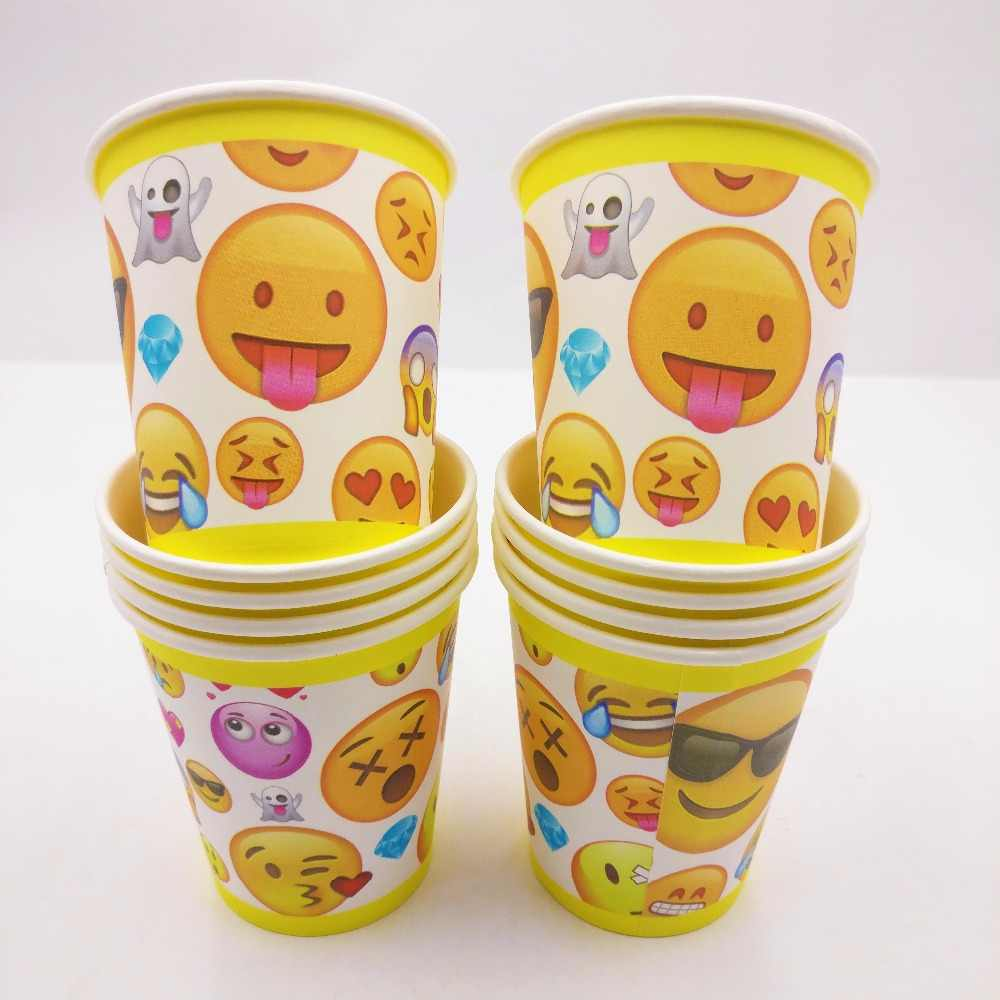 10pcs Incredible Emoji Themed Cup Supplies Party Favor Ideas Face Birthday Invitations Decorations Plastic Tableware