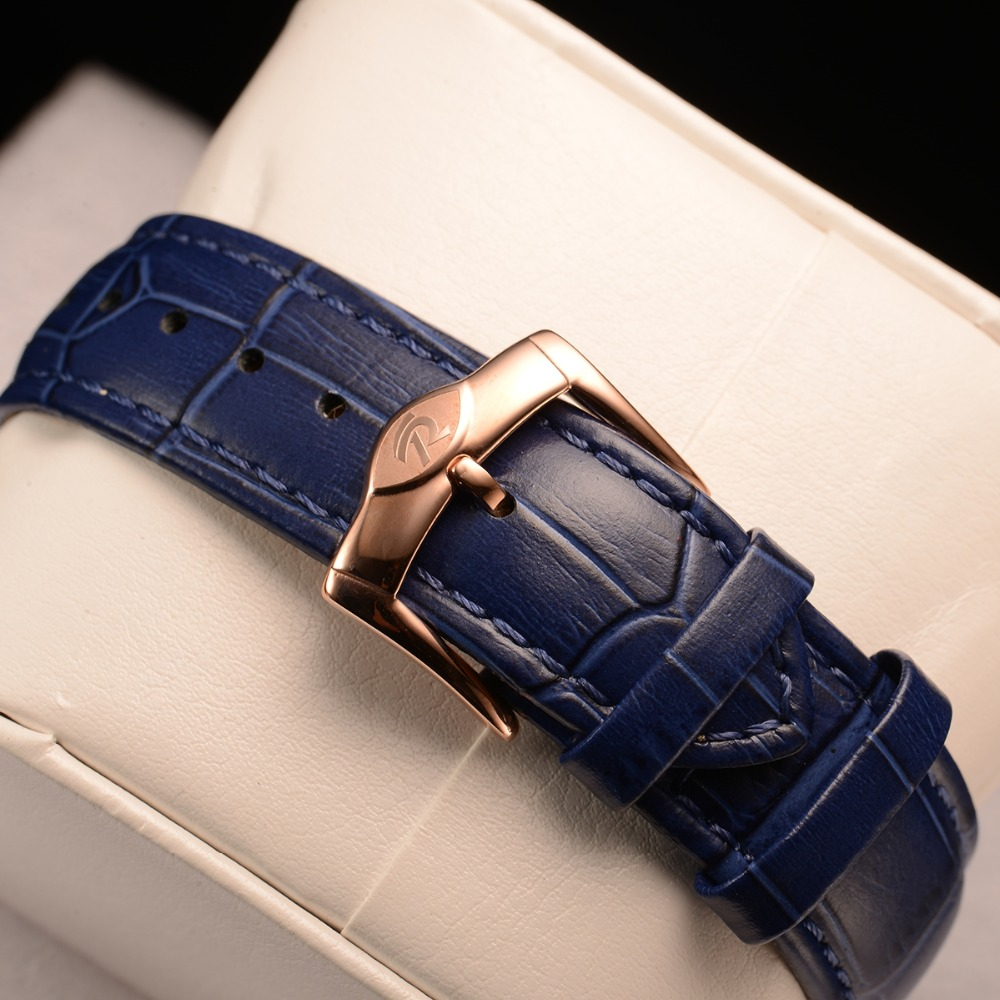 Reef Tiger/RT Blue Dial Fashion Watches for Women Leather Strap Waterproof Automatic Watches Diamond Tourbillon Watch RGA7105