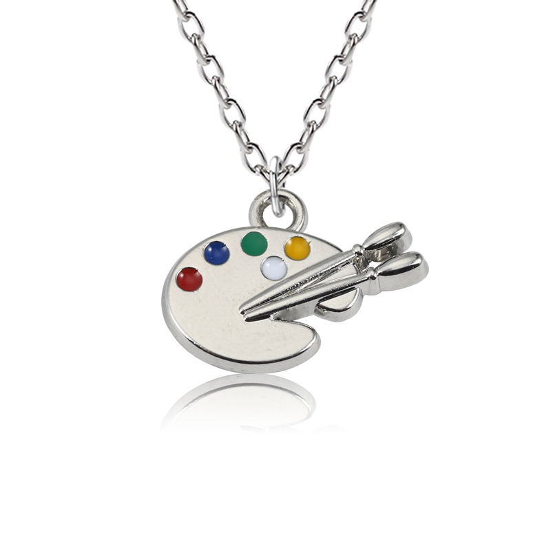 DIY Cartoon Enamel Colorful Drawing Board Pendants Silver Unisex Palette Necklaces&Pendants Creative Jewelry For Kids Collares