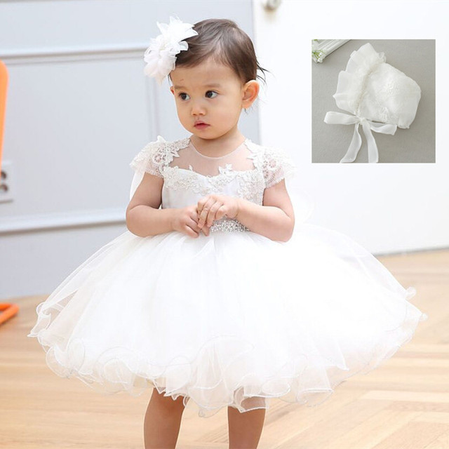 2018 Baby Girl Dress With Hat White 1 Year Old Birthday Party Formal