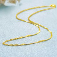 Solid Pure 999 24K Yellow Gold Chain Women's Singapore Link Necklace 16.5inch