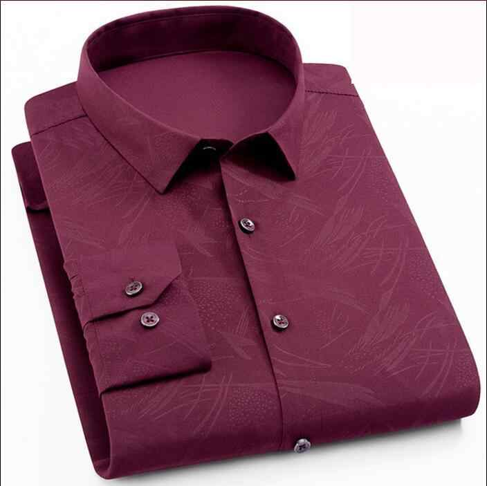 2019 Lange Mouw heren Shirt Print Luxe Merk Mens Shirt Casual Slim Fit Man Sociale Shirt Plus Size 3xl 4xl