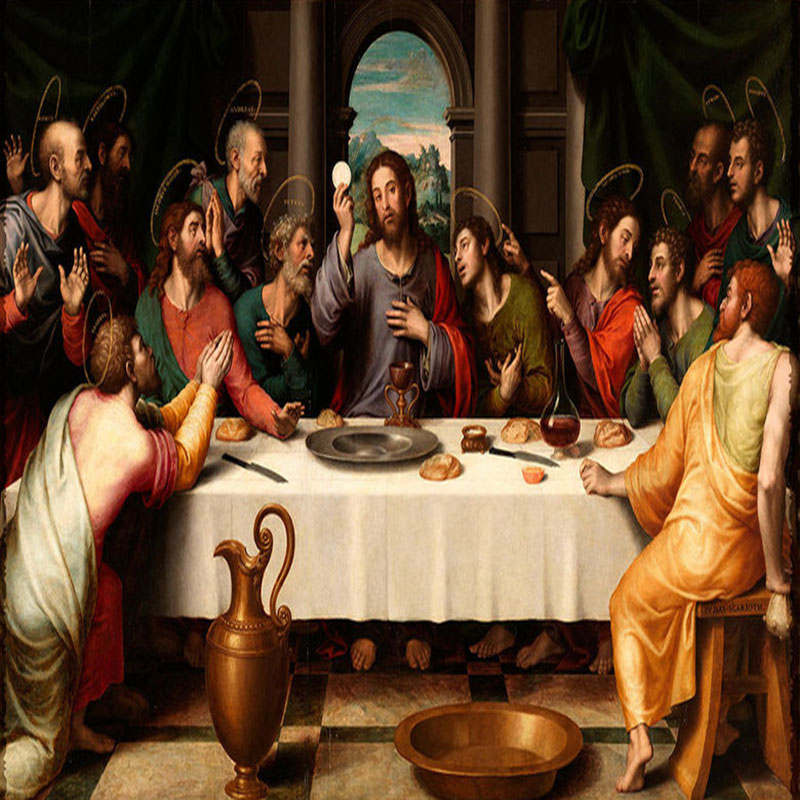 Custom Photo Wallpaper Murals European Oil Painting Last Supper Large Wall Painting Living Room Background Wall Mural Wallpaper