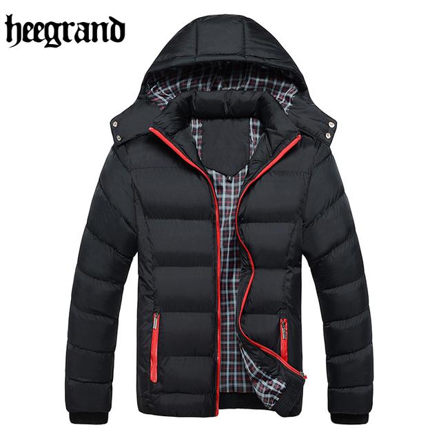 Hee grand parka de invierno cálido abrigo de manga larga con capucha de algodón de moda masculina hombre de color sólido ocasional de gran tamaño abrigo mwm1623