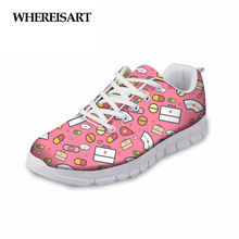 WHEREISART Cartoon Cute Nurse Medical Printed Women Shoes Casual Flats Sneakers Fashion Womens Breathable Flat Female Moccasins