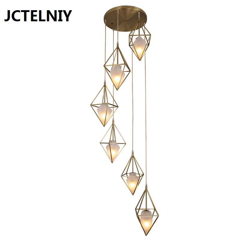 Modern copper glass fashion art geometric bar aisle single head bed LED pendant lights Dia600mm Brass stair lamp