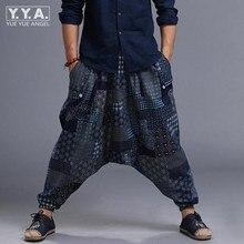 Горячая Распродажа мужские Самурайские Бохо повседневные свободные шаровары хакама льняные японские штаны с цветочным принтом эластичная талия штаны для мужчин