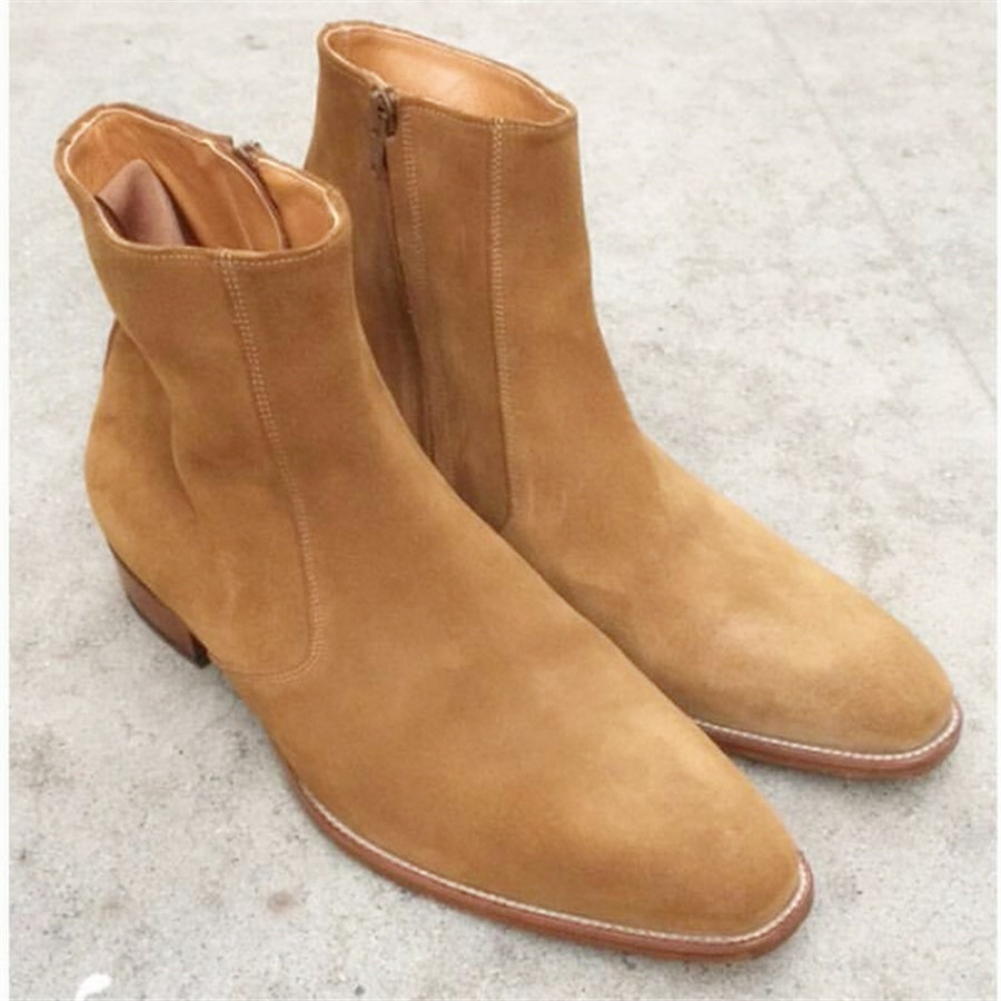 US $86.4 20% OFF|New Handmade Quality Product Wedge Suede Chelsea Boots Wyatt Classic Harness Ankle zipper Men Camel Boots on AliExpress