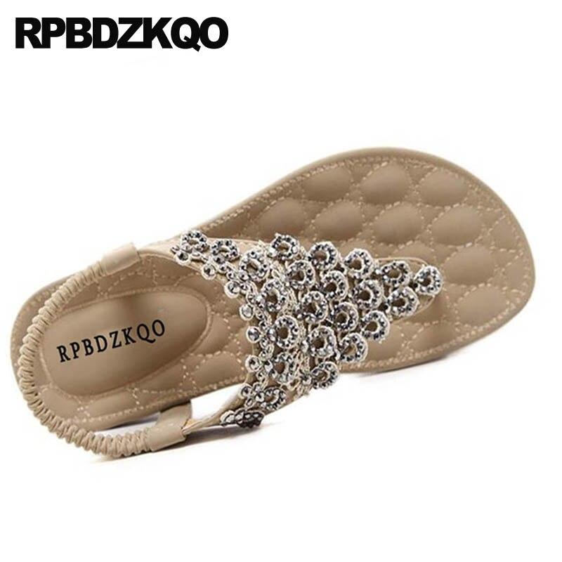 T Strap Women Flat Rhinestone Beach Shoes Sandals Leisure Fashion Bohemia Style Thong Crystal Wide Fit Diamond Nude Large Size