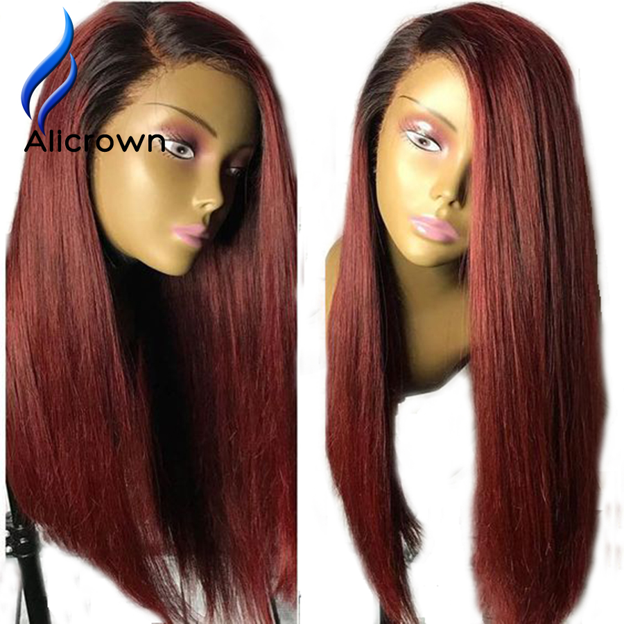 Alicrown T1B Burgundy Ombre Human Hair Bob Wigs Brazilian Remy Hair Lace Front Wigs 13 4