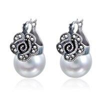 925 Sterling silver semi precious stones Garnet stud earrings Thai style Vintage Natural Freshwater Pearl female fashion jewelry