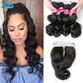 Loose Wave Lace Closure With Bundles Loose Wave Brazilian Virgin Hair With Closure Cheap Brazilian Hair 4 Bundles With Closure