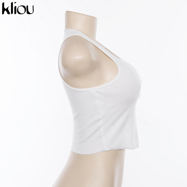 Kliou Women Lovely Crop Tank Tops Cupid Embroidery 2019 New White Sleeveless Short Female Sexy Cute Casual Party knitted Top