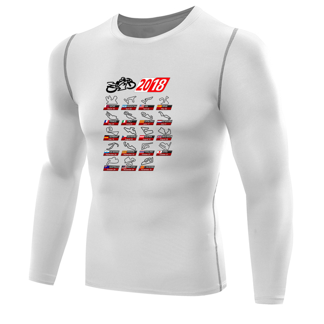 4be1e6f8 Calendar 2018 MotoGp Circuits Moto Gp t shirt compression shirt men long  sleeves shirts dry fit tops camiseta Motors tee shirt